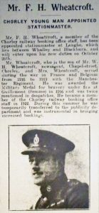Article about Frederick Wheatcroft in the Chorley Guardian, 1931