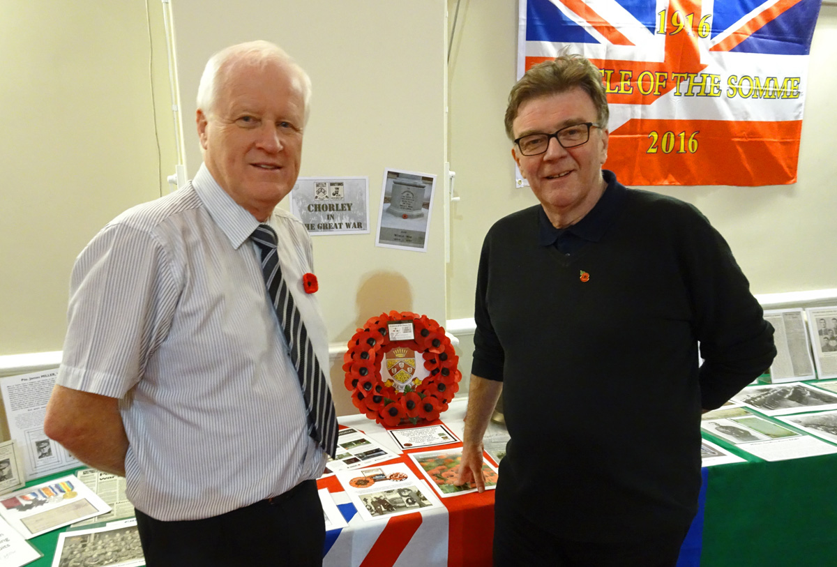 Steve Williams and John Gillmore at the Armistice Day event at Chorley Town Hall in 2016